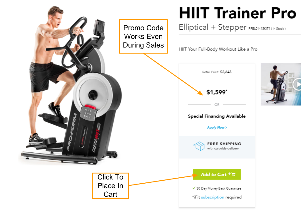 ProForm HIIT Trainer Pro Coupon and Promo Code