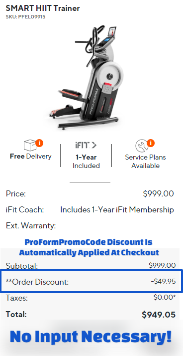ProForm SMART HIIT Trainer Cart Promo Code