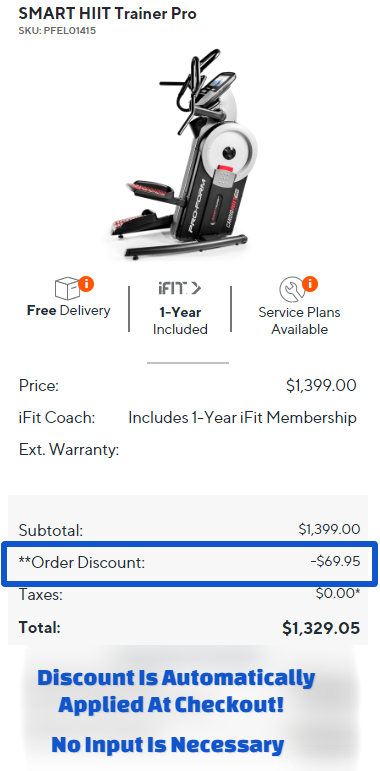 ProForm SMART HIIT Trainer Pro Cart Promo Code