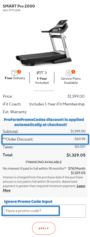 ProForm SMART Pro 2000 Treadmill Cart Discount Applied