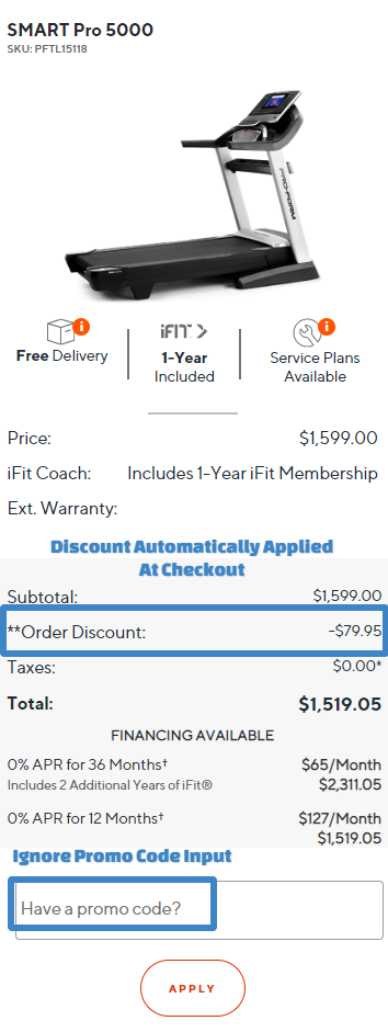 ProForm SMART Pro 5000 Cart Discount Applied
