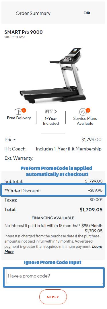 ProForm SMART Pro 9000 Cart Discount Applied
