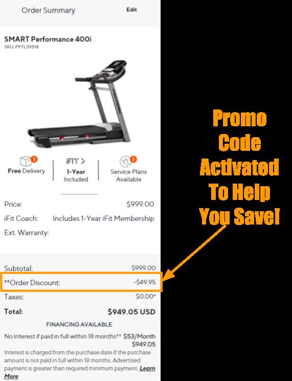 ProForm SMART Performance 400i Treadmill Promo on Cart