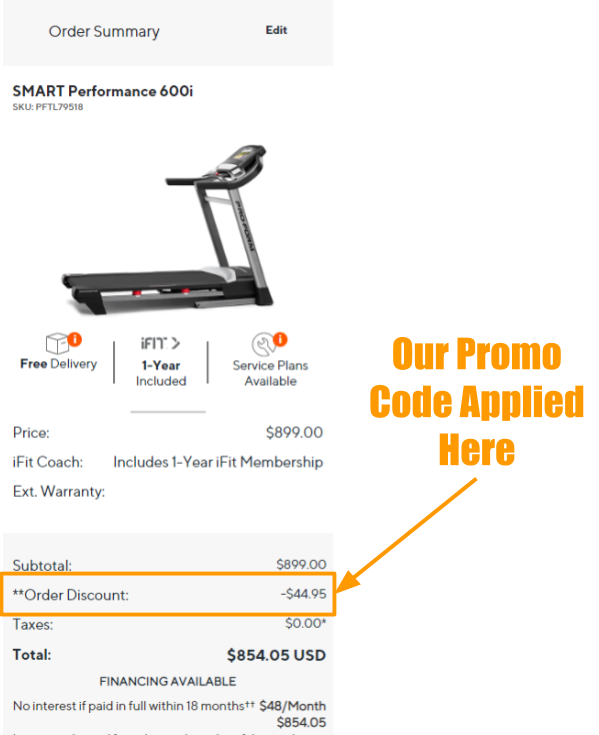 ProForm SMART Performance 600i Promo on Cart